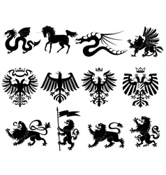 Vector heraldic animals set 2 vector