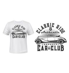 vintage car club t-shirt print mockup vector image