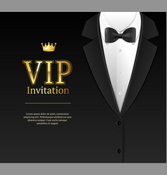 Vip invitation with bow tie vector