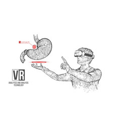 Vr wireframe headset man with stomach vector