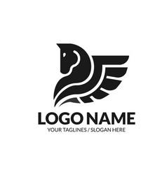 winged pegasus logo vector image