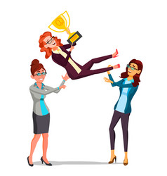 Winner business woman throwing colleague vector