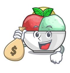 with money bag sorbet ice cream in cup cartoon vector image