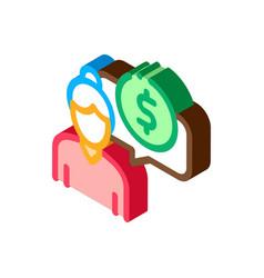 Woman dollar mark isometric icon vector