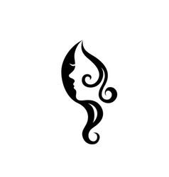 Woman face silhouette logo vector