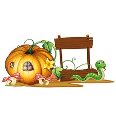 Wooden sign with pumpkin and snake in background vector