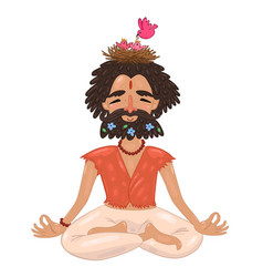 yogi with a nest on his head vector image