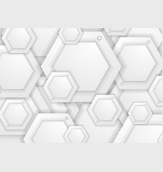 abstract grey paper hexagons tech background vector image vector image