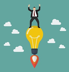 Businessman on a lightbulb idea rocket vector image