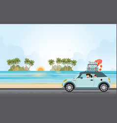 funny family driving in car on weekend holiday vector image vector image