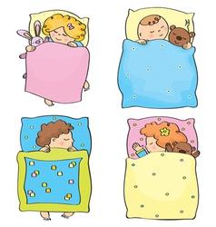 kids sleeping vector image