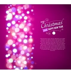 Merry Christmas Background with bokeh lights vector image