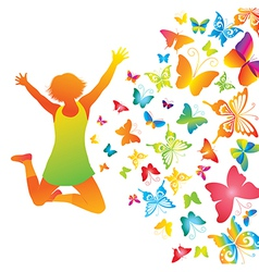 young girl with butterflies vector image vector image