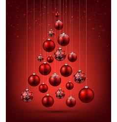 Christmas tree with red christmas balls vector image vector image