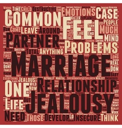 Common marriage problems jealousy text background vector