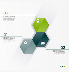infographic template with 3 hexagons vector image vector image