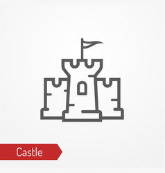 medieval castle silhouette icon vector image