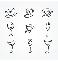 set of cups and glasses vector image vector image