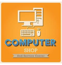 Computer shop Retro poster vector image vector image