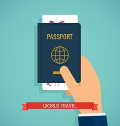Hand holding passport with tickets Passport icon vector image vector image