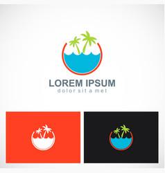 palm tree beach ocean holiday logo vector image