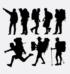 People hiking silhouettes vector image vector image