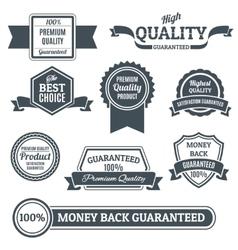 Quality labels black set vector image vector image