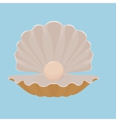 Scallop seashell with pearl vector image
