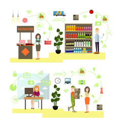 set of people shopping flat symbols icons vector image vector image