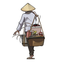 Vietnamese trader comes with pots on the beam vector image