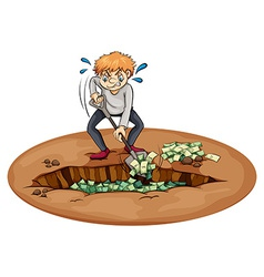 A man digging the money in the pit vector