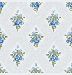 classic wallpaper with blue roses vector image vector image