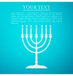 Hanukkah menorah flat icon on blue background vector image