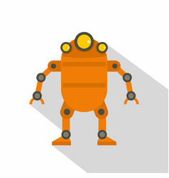 orange abstract robot icon flat style vector image