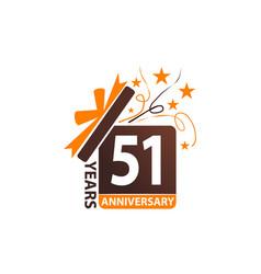51 years gift box ribbon anniversary vector image