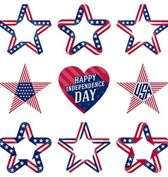 A set of original stars and heart for Independence vector image vector image