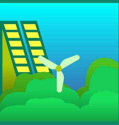 a windmill and solar energy panels green eco city vector image