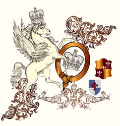 antique heraldic design winged horse and swirls vector image