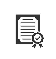 approved certificate black icon on white vector image