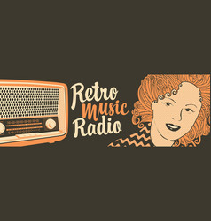 Banner for retro music radio with old radio vector