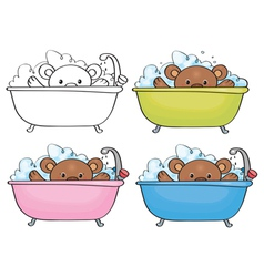 bear bath vector image