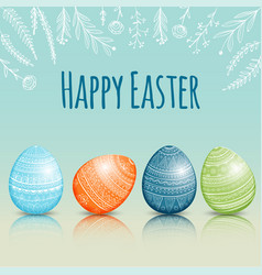 Beautiful easter card with colored easter eggs vector