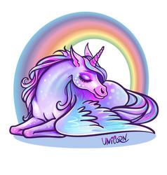 beautiful unicorn in sleep magic fantasy h vector image