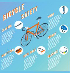 Bicycle safety concept infographic set of vector