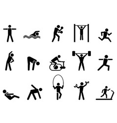 Black fitness people icons set vector