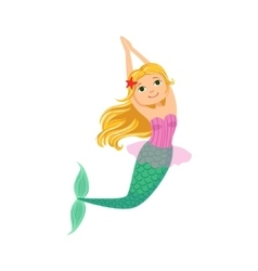 Blond Mermaid In Purple Swimsuit Top Bra With vector image
