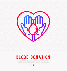 blood donation two hands holding blood drop vector image