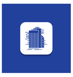 blue round button for building technology smart vector image
