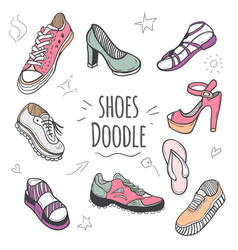 Boots colorful doodle collection vector