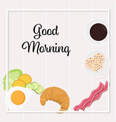 breakfast objects top view square social media vector image